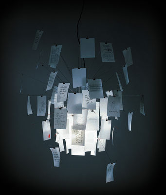 Luminaire - Suspensions - Suspension Zettel'z 5 - Ingo Maurer - Inox / Papier blanc et imprimé - Ø 120 cm - Métal, Papier