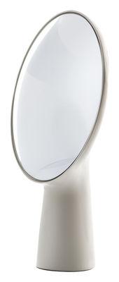Mobilier - Miroirs - Miroir à poser Cyclope / H 46,5 cm - Moustache - Écru - Terre cuite émaillée
