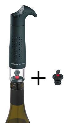 Tableware - Wine Accessories - Gard'vin On/Off Classic Air vacuum pump - Air vacuum pump (wine keeper) & 2 airtight sealers by L'Atelier du Vin - Black - PVC