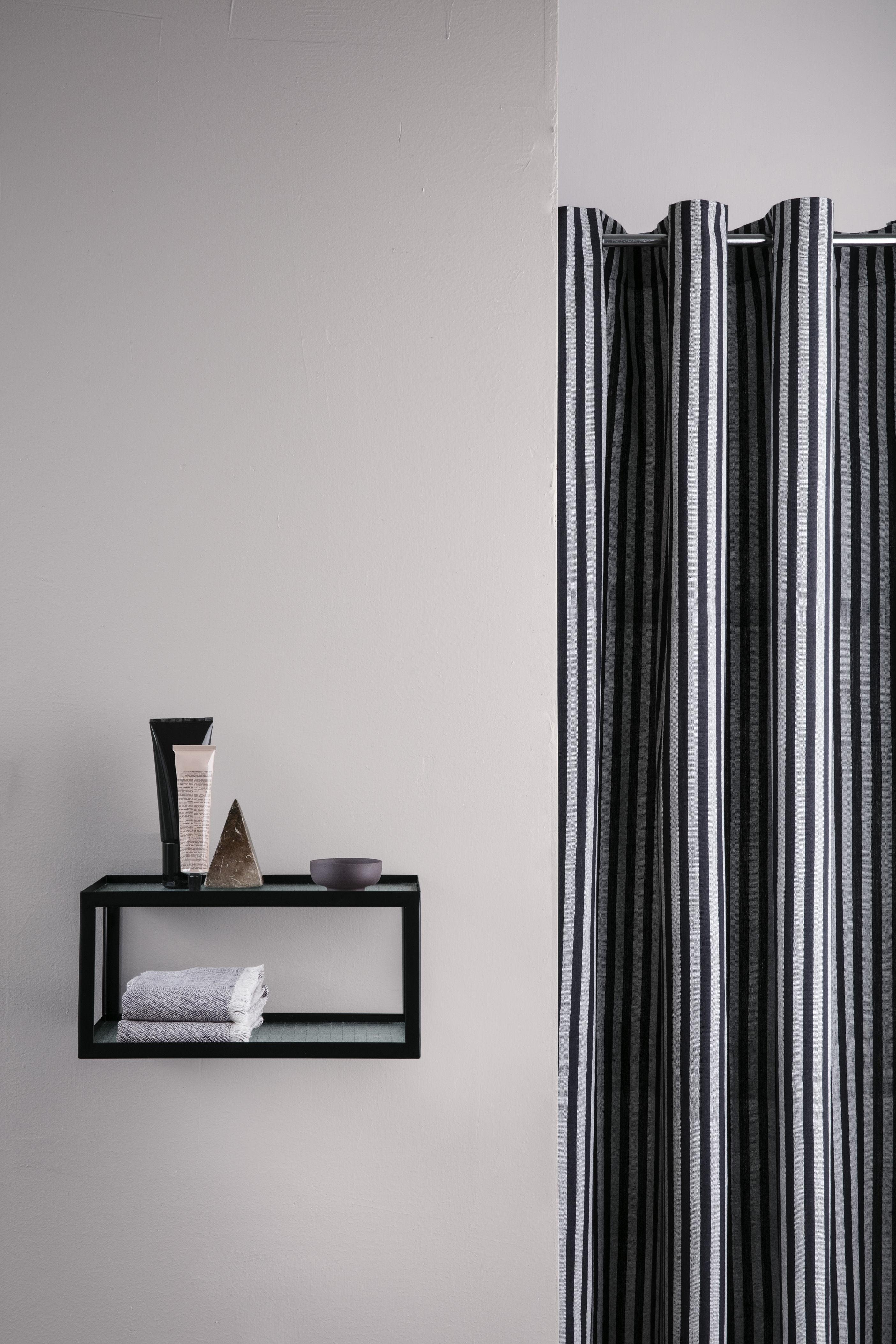 Rideau de douche chambray striped 160 x h 205 cm coton enduit ray gris noir ferm living - Rideau 160 de large ...