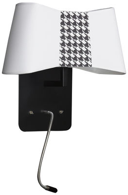 Luminaire - Appliques - Applique Petit Couture / Avec liseuse articulée LED - Designheure - Blanc & pied de poule noir - Acier laqué, Tissu
