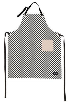 Tablier Black Stripe Ferm Living blanc,noir,beige en tissu