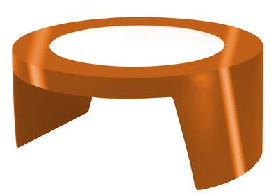 Tavolino Tao di Slide - Arancione laccato - Vetro