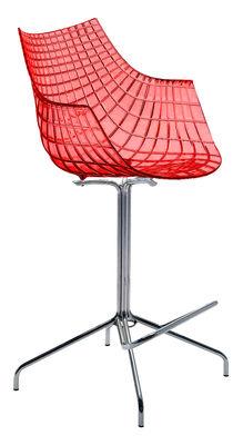 Foto Sedia da bar Meridiana di Driade - Rosso trasparente - Metallo