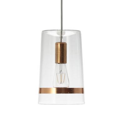 Luminaire - Suspensions - Suspension C1 Chic / Verre & feuille de cuivre - Ø 18 x H 28 cm - Hind Rabii - Cuivre / Transparent - Feuilles de cuivre, Verre