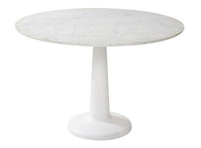 Tendances - Espace Repas - Table G / Ø 110 cm - Plateau marbre - Tolix - Marbre blanc / Pied blanc - Acier laqué, Marbre de Carrare