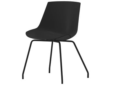 Furniture - Chairs - Flow Chair - 4 legs by MDF Italia - Black shell / Black frame - Lacquered steel, Polycarbonate