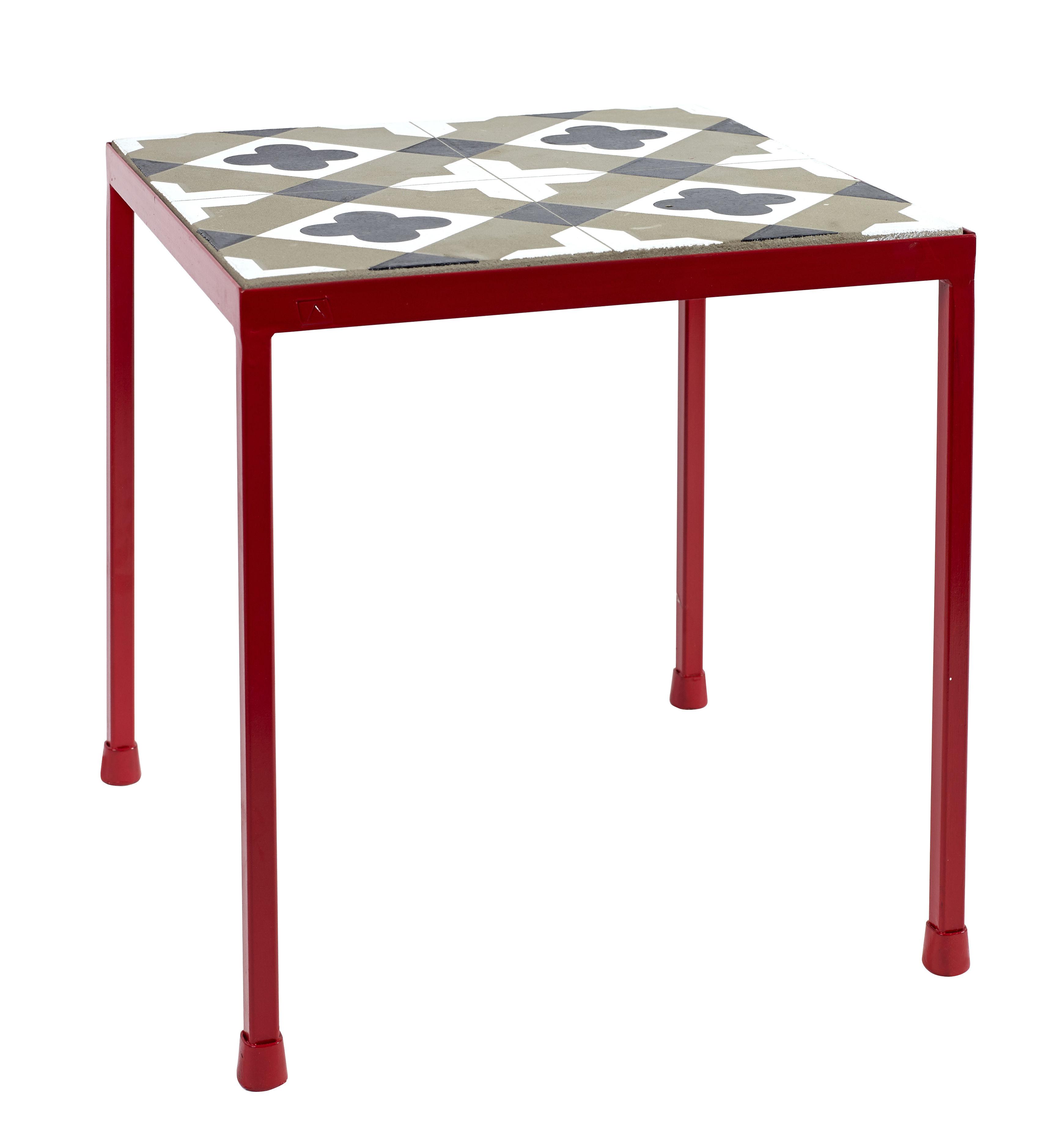table d 39 appoint feeling b ton motifs carreaux de ciment 40 x 40 cm gris noir pied rouge. Black Bedroom Furniture Sets. Home Design Ideas