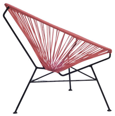 Furniture - Armchairs - Condesa Low armchair by OK Design pour Sentou Edition - Pink - Lacquered steel, Plastic material