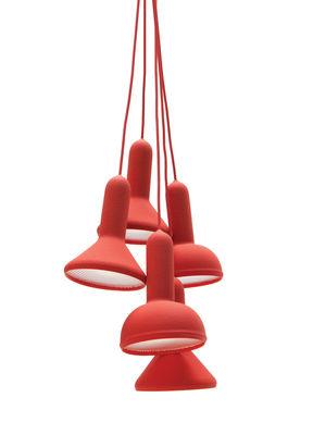 Suspension Torch Light 5 abat jours Established Sons rouge en matière plastique