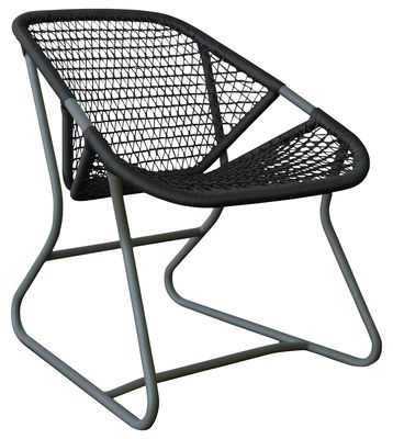 Furniture - Armchairs - Sixties Low armchair by Fermob - Storm grey frame / Ardoise seat - Aluminium, Plastic material