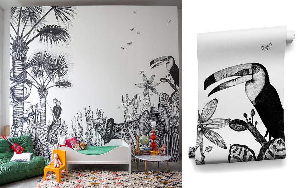 papier peint the wild 3 l s blanc noir bien fait. Black Bedroom Furniture Sets. Home Design Ideas