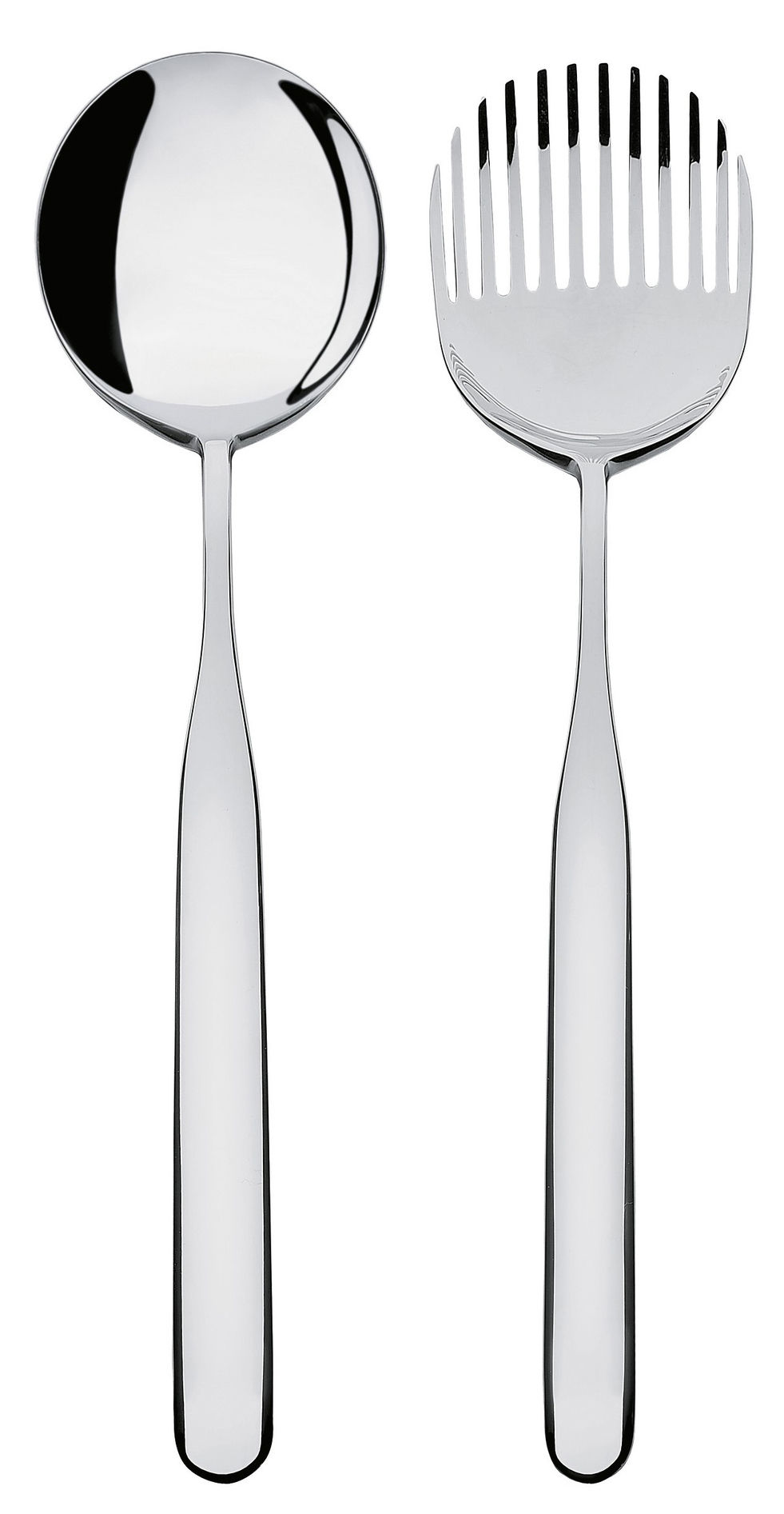 Couverts salade collo alto acier poli miroir alessi for Acier poli miroir