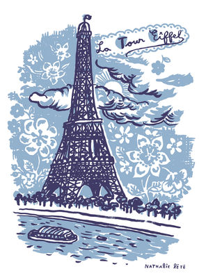Image of La Tour Eiffel Sticker 25 x 35 cm - Domestic - Blau