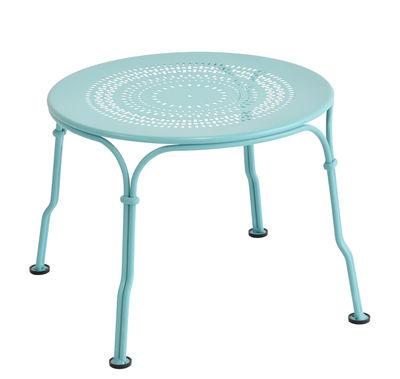 Tavolino basso 1900 / Ø 45 cm - Fermob - Blu laguna - Metallo