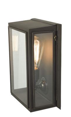 Luminaire - Appliques - Applique Box Small / H 29,5 cm - Pour l'extérieur - Original BTC - H 29 cm (Small) / Noir & transparent - Laiton vielli, Verre