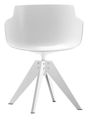 Fauteuil flow slim 4 pieds vn acier blanc pi tement for Chaise de salle a manger trackid sp 006