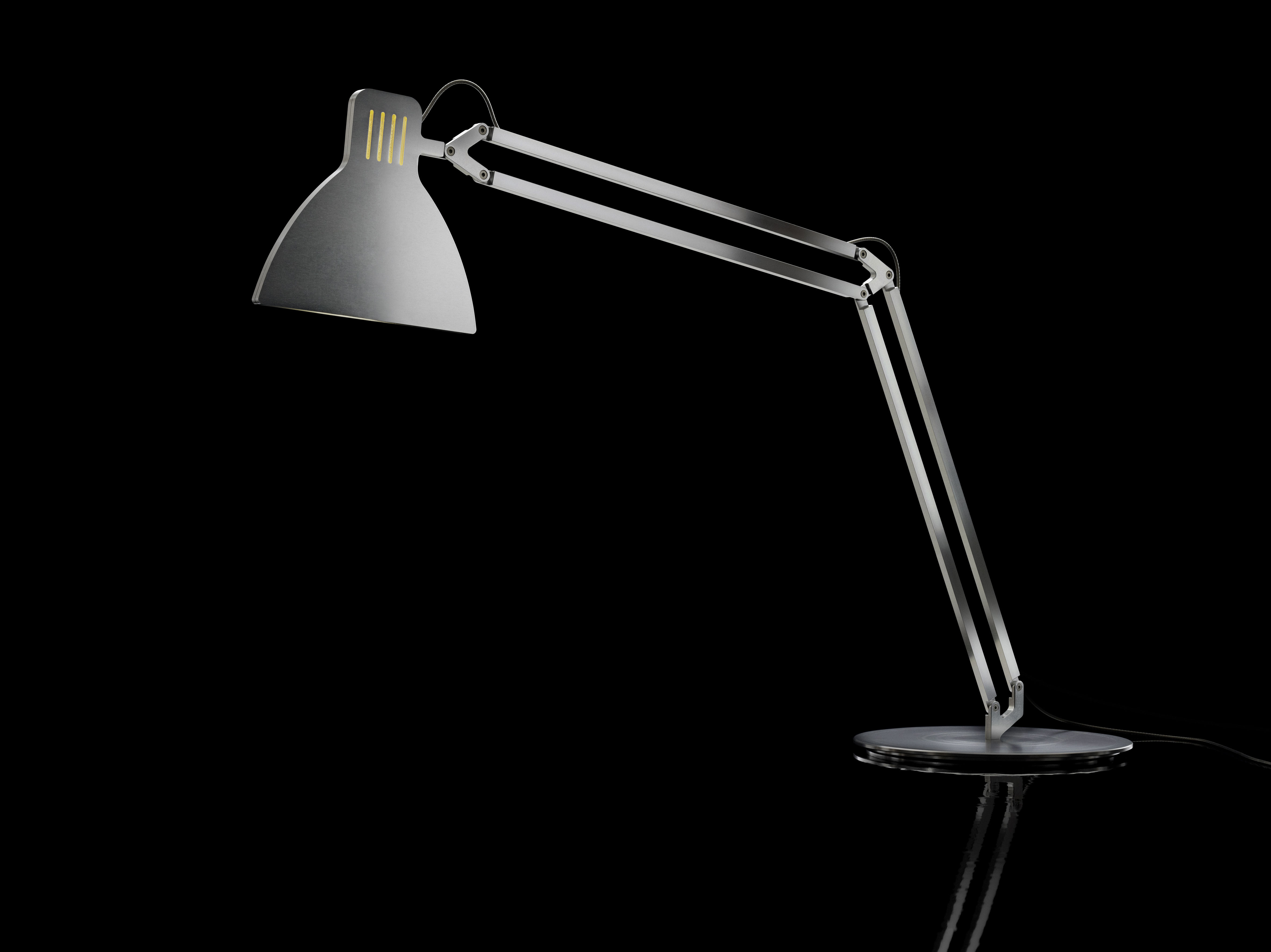 lampe de table looksoflat abat jour plat aluminium fil argent ingo maurer. Black Bedroom Furniture Sets. Home Design Ideas