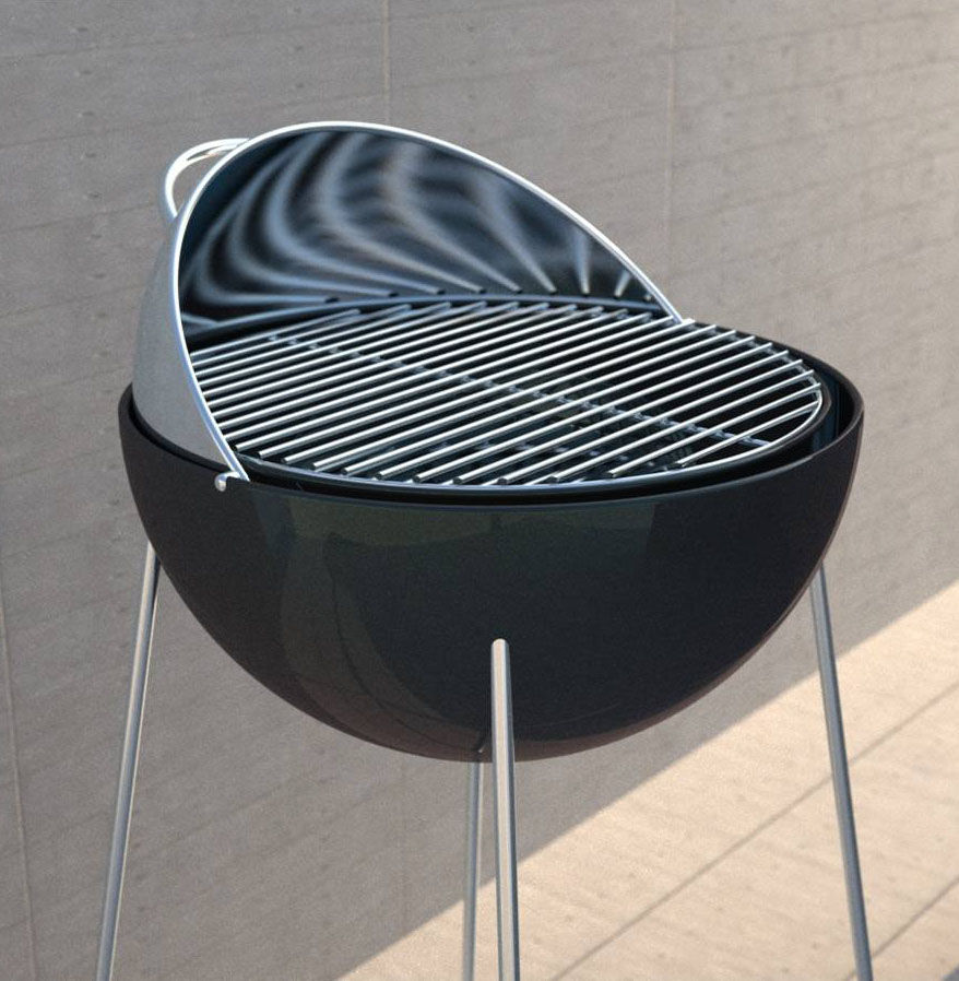 grill globe charcoal grill 47 cm stainless steel black by eva solo. Black Bedroom Furniture Sets. Home Design Ideas