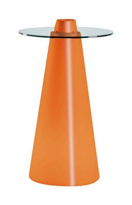 Foto Tavolo bar alto Peak - H 120 cm di Slide - Arancione laccato - Vetro