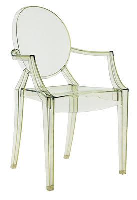 Fauteuil empilable Louis Ghost / Polycarbonate - Kartell vert transparent en matière plastique