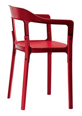 Poltrona Steelwood - Versione tinta unita di Magis - Rosso - Metallo