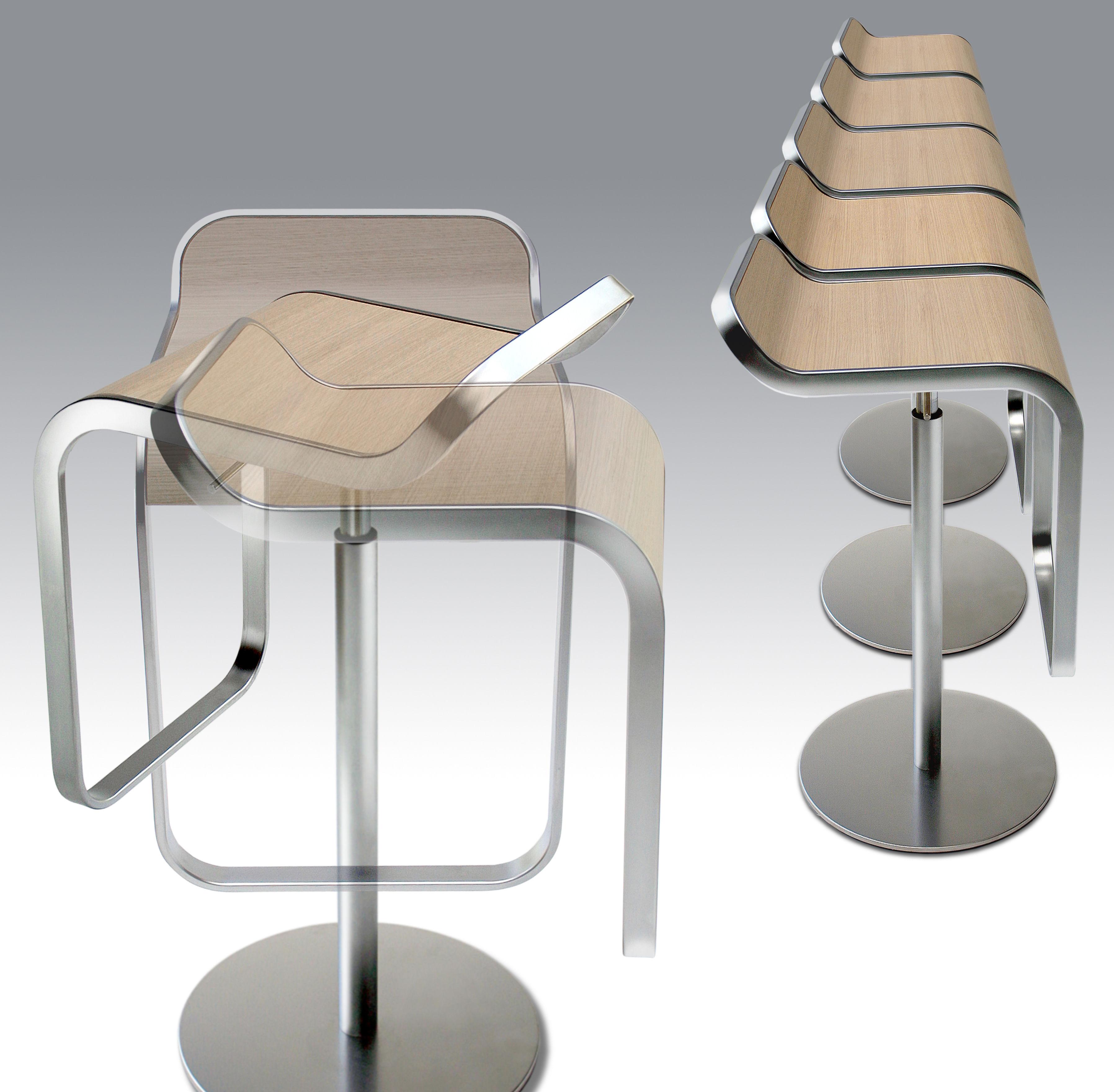 Lem Adjustable Bar Stool Pivoting Wood Seat Blanched Oak