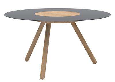 Tavolino basso Sputnik / Ø 70 x H 37 cm - Universo Positivo - Nero,Legno naturale - Metallo
