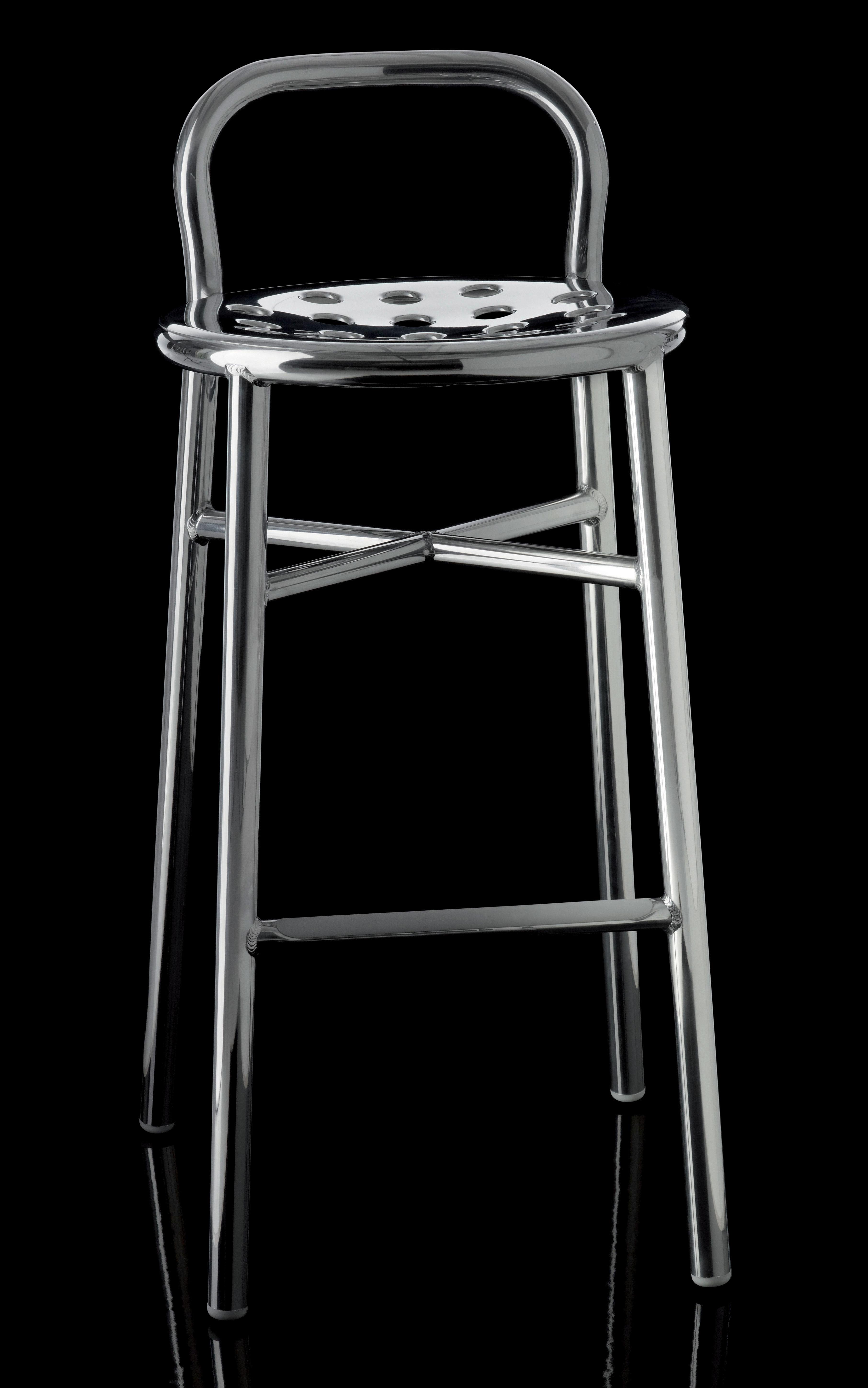 tabouret de bar pipe h 77 cm m tal alu poli magis. Black Bedroom Furniture Sets. Home Design Ideas