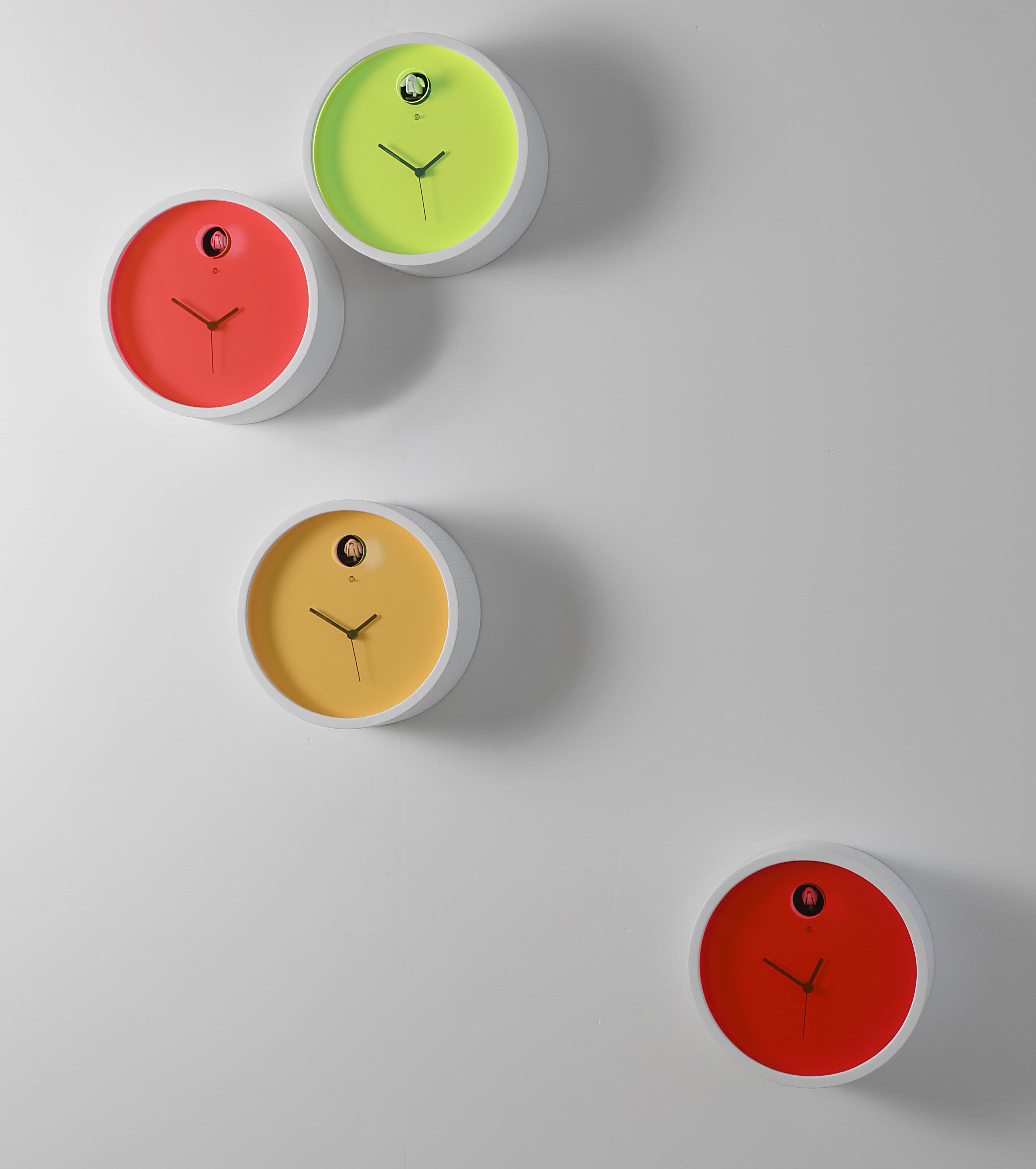 Horloge murale Plex à coucou Cadre blanc / cadran vert - Diamantini ...
