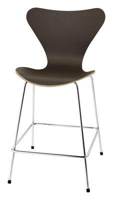 Mobilier - Tabourets de bar - Chaise de bar Série 7 / H 76 cm - Bois naturel - Fritz Hansen - Chêne teinté foncé - Acier, Contreplaqué de chêne teinté verni
