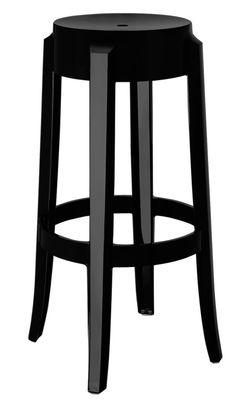 tabouret haut empilable charles ghost h 75 cm plastique noir opaque kartell. Black Bedroom Furniture Sets. Home Design Ideas