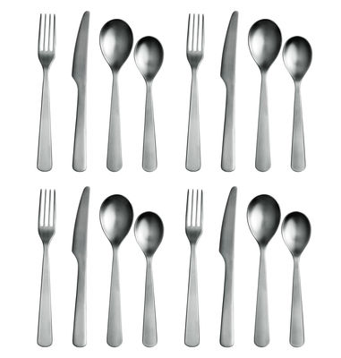 Tableware - Cutlery - Normann Kitchen cupboard - Cutlery gift box 16 pcs by Normann Copenhagen - Mat steel - Steel