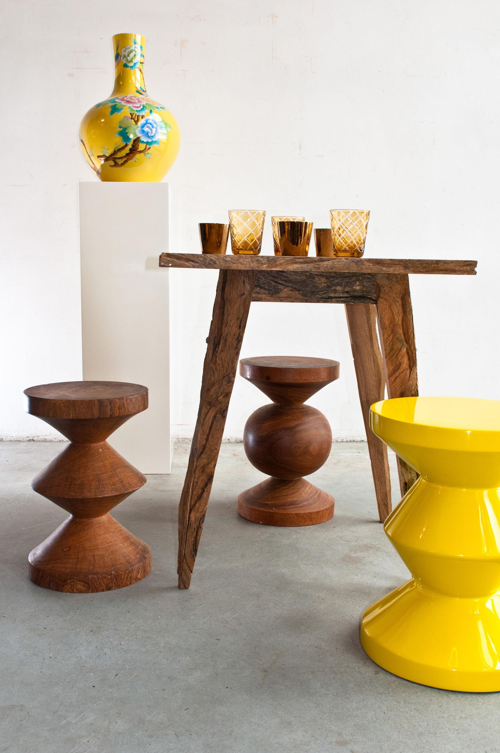 zig zag holz pols potten hocker. Black Bedroom Furniture Sets. Home Design Ideas