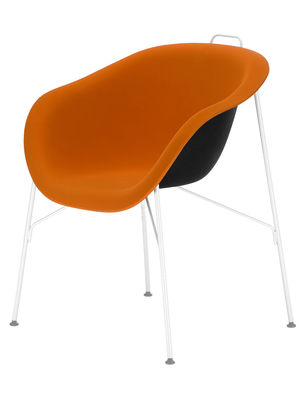 Furniture - Chairs - Eu/phoria Soft Armchair - Rubber fabric seat by Eumenes - White structure / Orange Soft fabric - Polypropylene, Rubberized fabric, Varnished steel, Wood