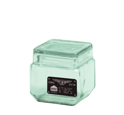 Pot Industrial Glass / Verre - L 11 x H 11 cm - Diesel living with Seletti vert transparent en verre