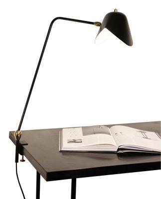 Luminaire - Lampes de table - Lampe d'architecte Agrafée / 2 rotules - Base étau - 1957 - Serge Mouille - Noir - Métal laqué