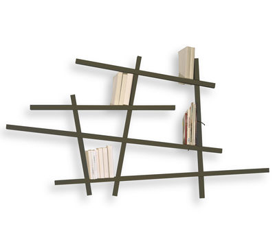 Bibliothèque Mikado / Small - L 185 x H 100 cm - Compagnie gris en bois