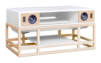 Meuble TV AP 160 / Enceinte acoustique haute Fidélité - Bluetooth - La Boîte Concept blanc,chêne naturel en bois