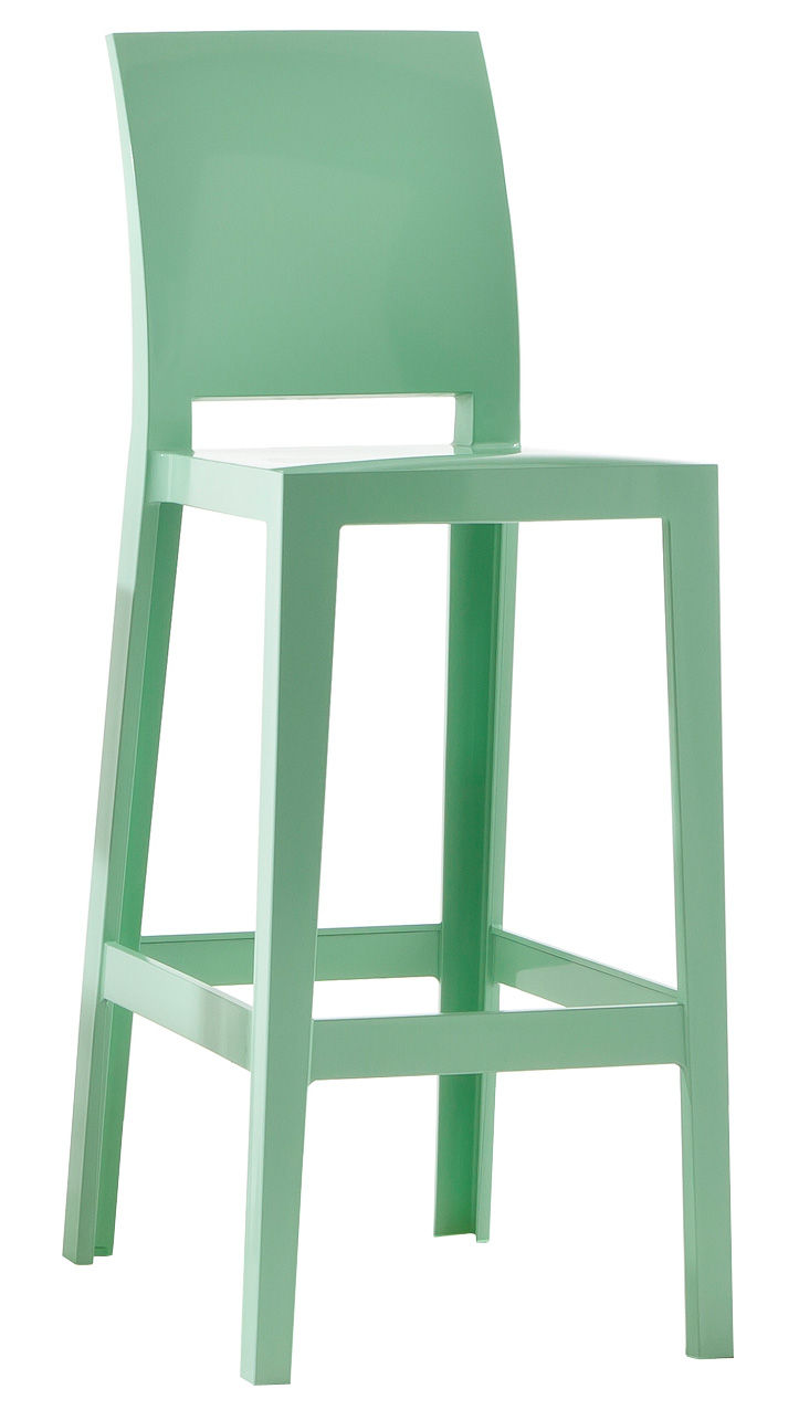 chaise de bar one more please h 75cm plastique vert kartell. Black Bedroom Furniture Sets. Home Design Ideas