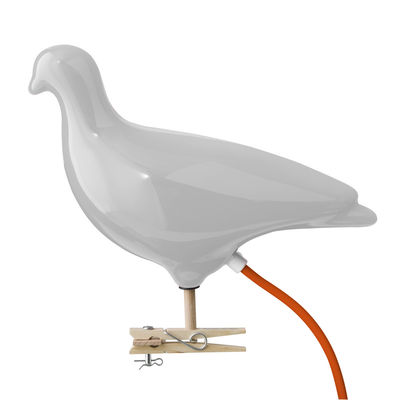 lampe pigeon clipser ou fixer au mur gris c ble orange thorsten van elten pop corn. Black Bedroom Furniture Sets. Home Design Ideas