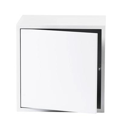 Foto Mensola Stacked / Medium quadrato 43x43 cm / Con anta - Muuto - Bianco - Legno Scaffale