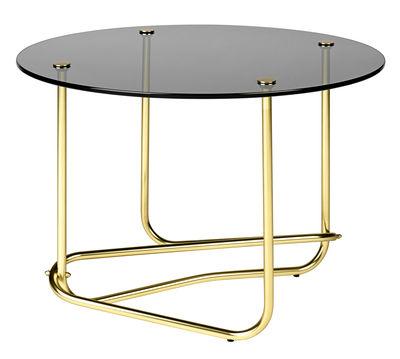 Tavolino Lounge Table - / Matégot - Ø 41 x H 58 cm di Gubi - Fumé,Ottone - Metallo