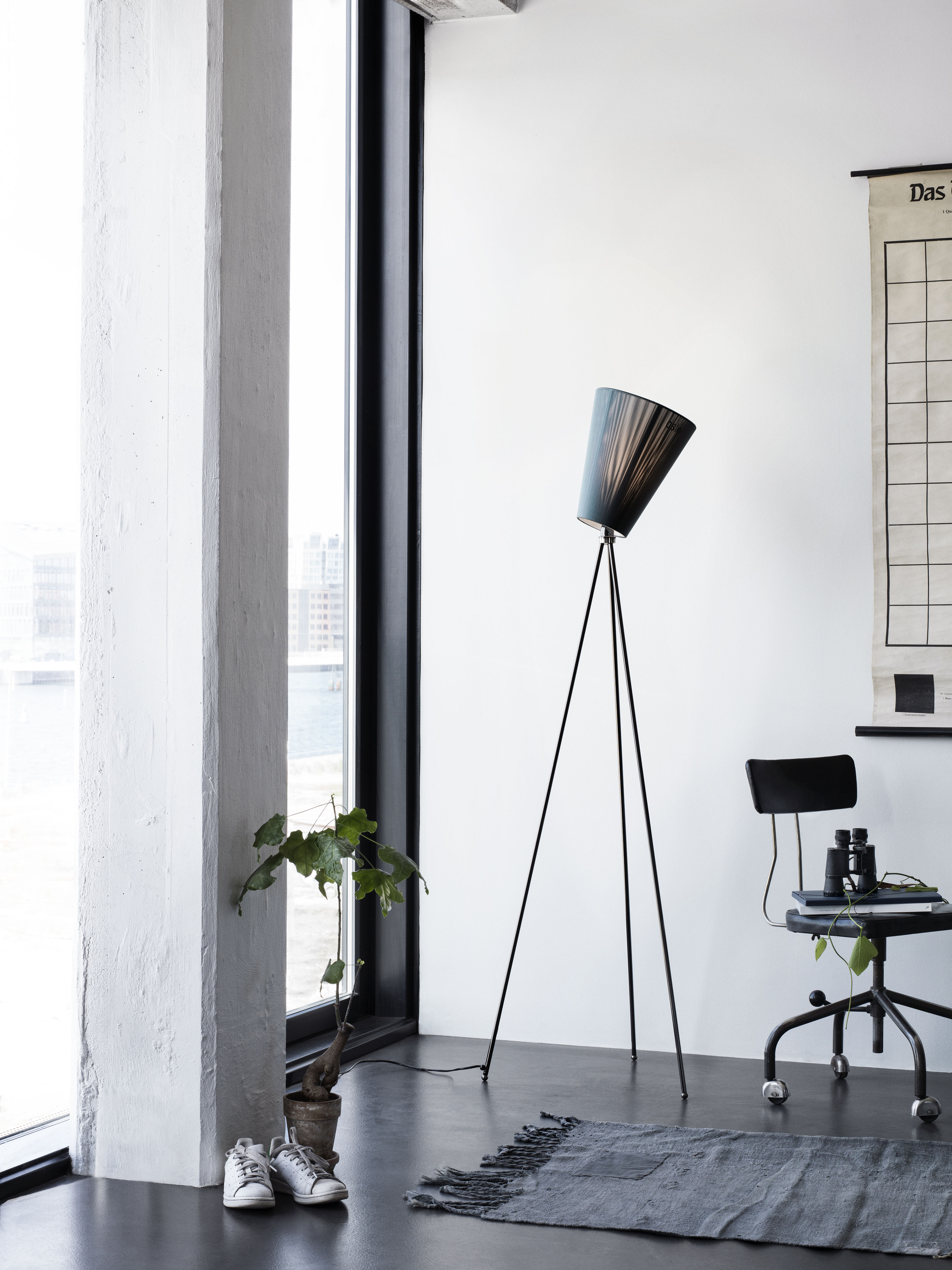 Oslo Wood Floor Lamp Black Shade Black Feet By Northern