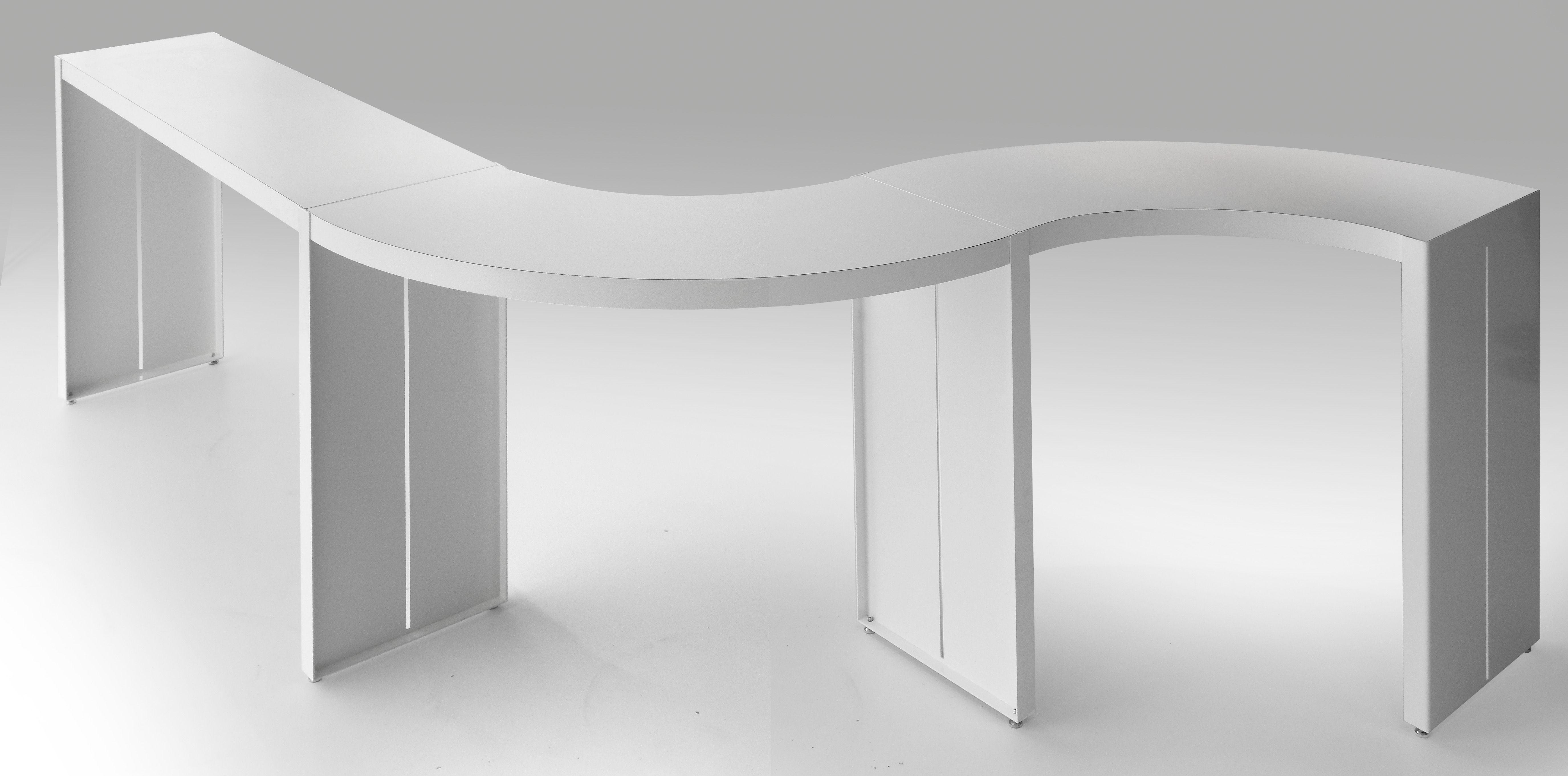 Table haute panco h 110 cm l 290 cm blanc lapalma for Tavoli alti design