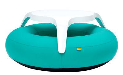 Set table & bancs DoNuts / Gonflable - Ø 190 cm - Blofield turquoise en matière plastique
