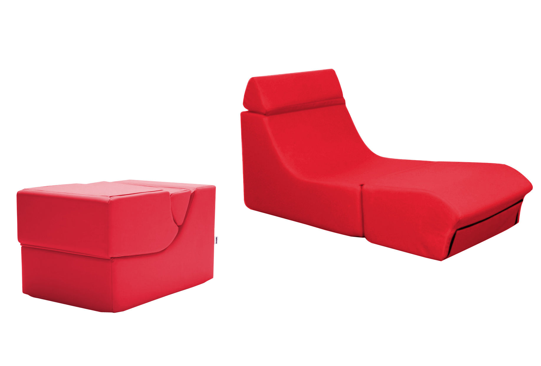 chauffeuse kube pouf modulable rouge dunlopillo made in design. Black Bedroom Furniture Sets. Home Design Ideas