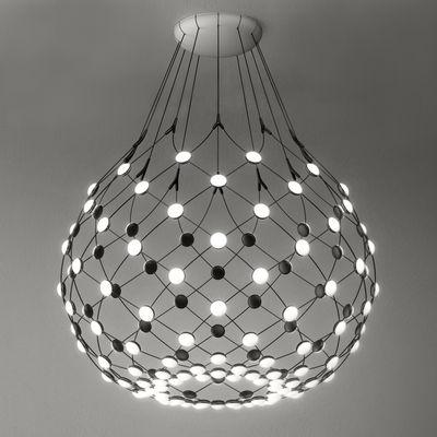 Luminaire - Suspensions - Suspension Mesh LED Large  / Ø 100 x H 90 cm - Luceplan - Ø 100 cm / Noir - Acier, Polycarbonate