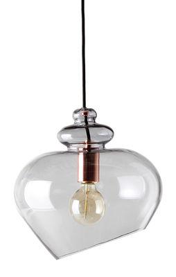 Luminaire - Suspensions - Suspension Grace / Ø 23 cm - Frandsen - Gris / Douille cuivrée - Verre