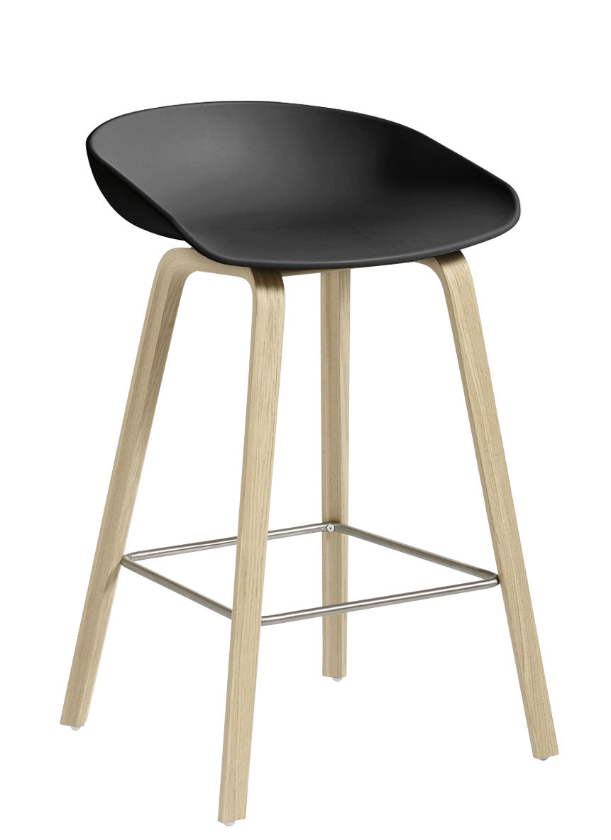 tabouret de bar about a stool aas 32 h 65 cm plastique pieds bois noir pieds bois. Black Bedroom Furniture Sets. Home Design Ideas